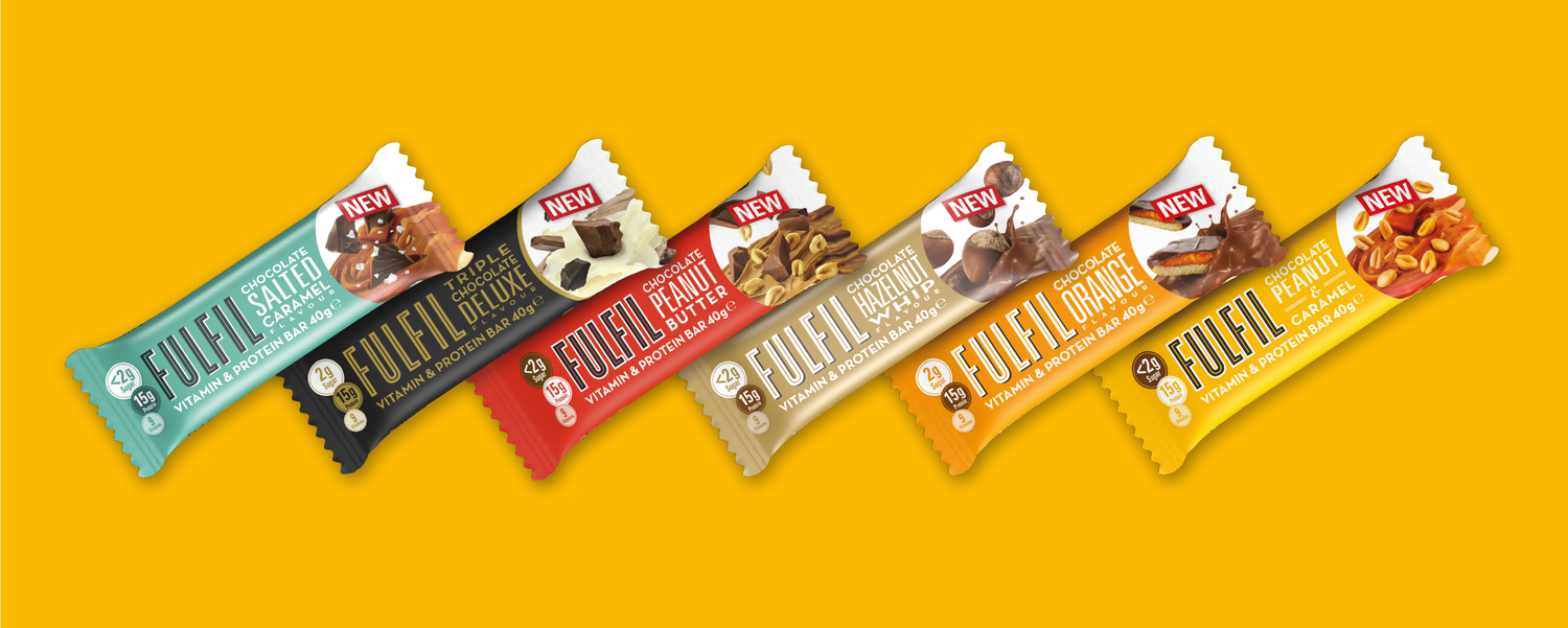 The full range of Fulfil 40g bars on an orange background